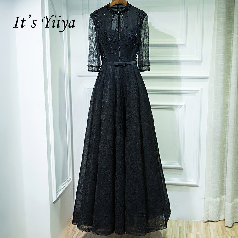 It s YiiYa Black Popular Three Quarter Sleeve O-Neck Evening Gowns Beading  Button Sexy Backless 47a036ff0487