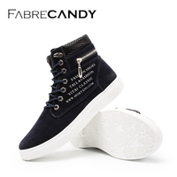 FABRECANDY Men Shoes Fashion Autumn Winter Men Boots Leather Footwear For Man New High Top Canvas Casual Shoes men flats