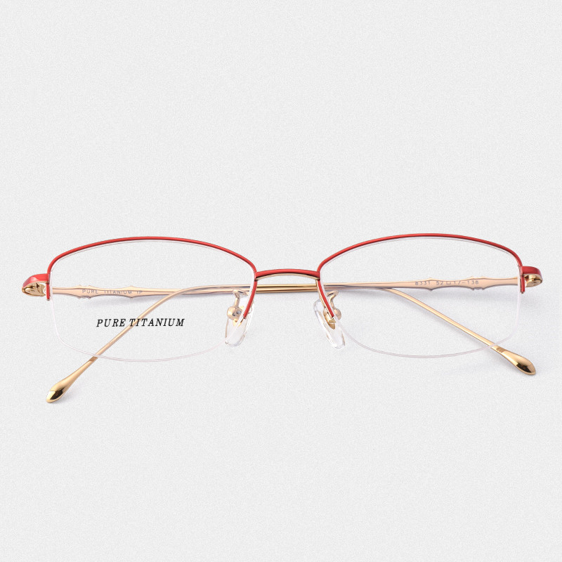 Titane lunettes cadre femmes demi myopie lunettes Prescription Designer optique 331 mince jambes