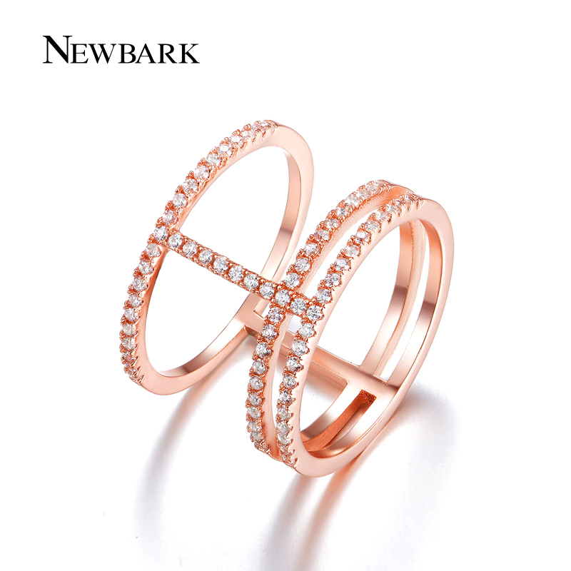 NEWBARK Trendy Ring Pave Setting Cubic Zirconia Rose Gold Color 3 Round Vintage Rings For Women Fashion Party Jewelry for nissan tiida lhd 2011 2014 front left driver side electric switch car window master button 25401 3df0b