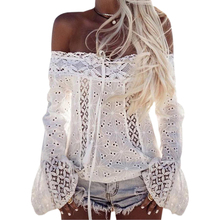 2017 Flower Lace Noble Blouse Women Long Flare Sleeve Slash Neck Shirt Bodycon Casual Off Shoulder Blouse Solid Sexy Blusa GV623 casual off the shoulder print flare sleeve blouse for women