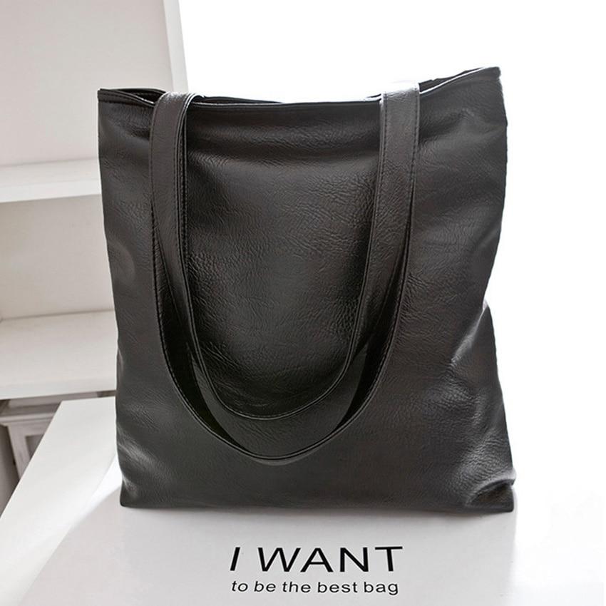 2017 New Arrival Concise Black Big Bag Fashion Women Bag Good Quality PU Leather Handbag Femal