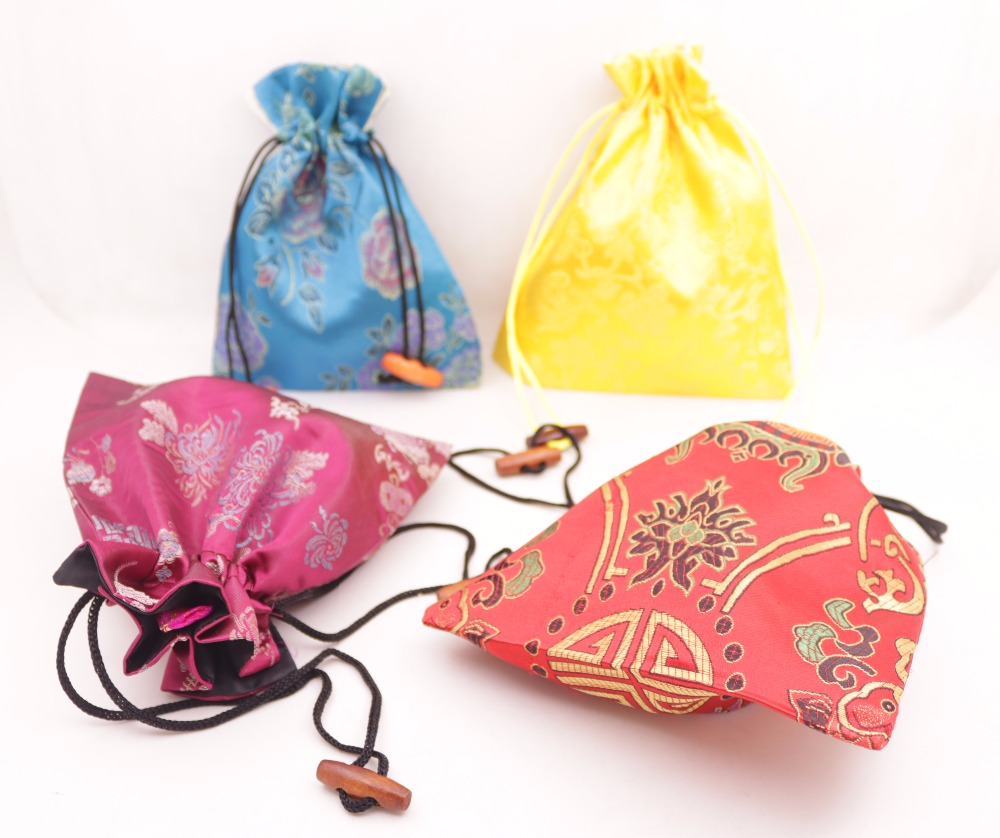 10pcs Brocade multi color manmade silk cloth jewelry bag pouch wood