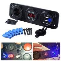 DC 12V USB Socket Splitter Motor Car DC Digital Voltmeter 3 Hole Panel Power Socket Dual