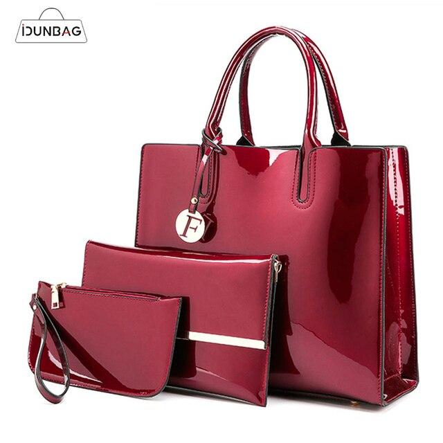 3 Sets High Quality Patent Leather Women Handbags Luxury Brands Tote Bag+Ladies Shoulder Bag+Clutch Messenger Bag Bolsa Feminina