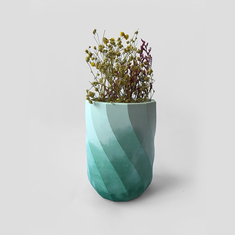 Concrete flowerpot silicone mold DIY corrugated pattern vase mould indoor and outdoor office living room decoration