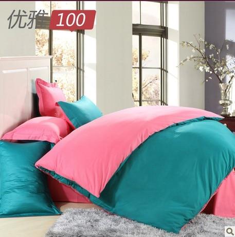 Elegant Satin 100 Double Solid Color 100% Cotton Bedding Bed Sheets Double  Color Block Decoration