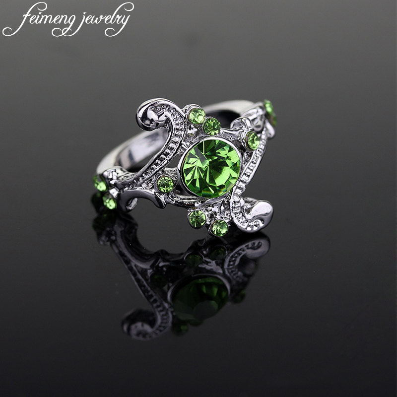 Hogwarts Slytherin Ring Classic Magic School Charm Green Crystal Wedding Rings For Women And Men Fashion Jewelry Accessories