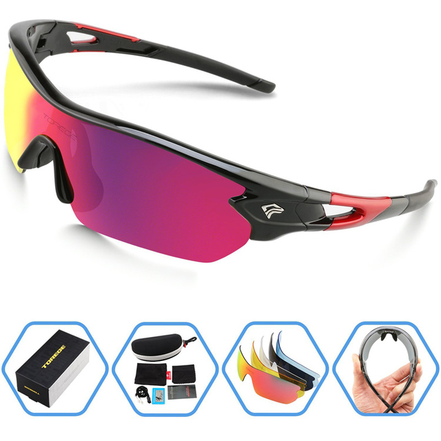 Polarized Sports Sunglasses With 5 Interchangeable Lenes for Men Women Climbing Running Driving Fishing Golf Eyewear Glasses