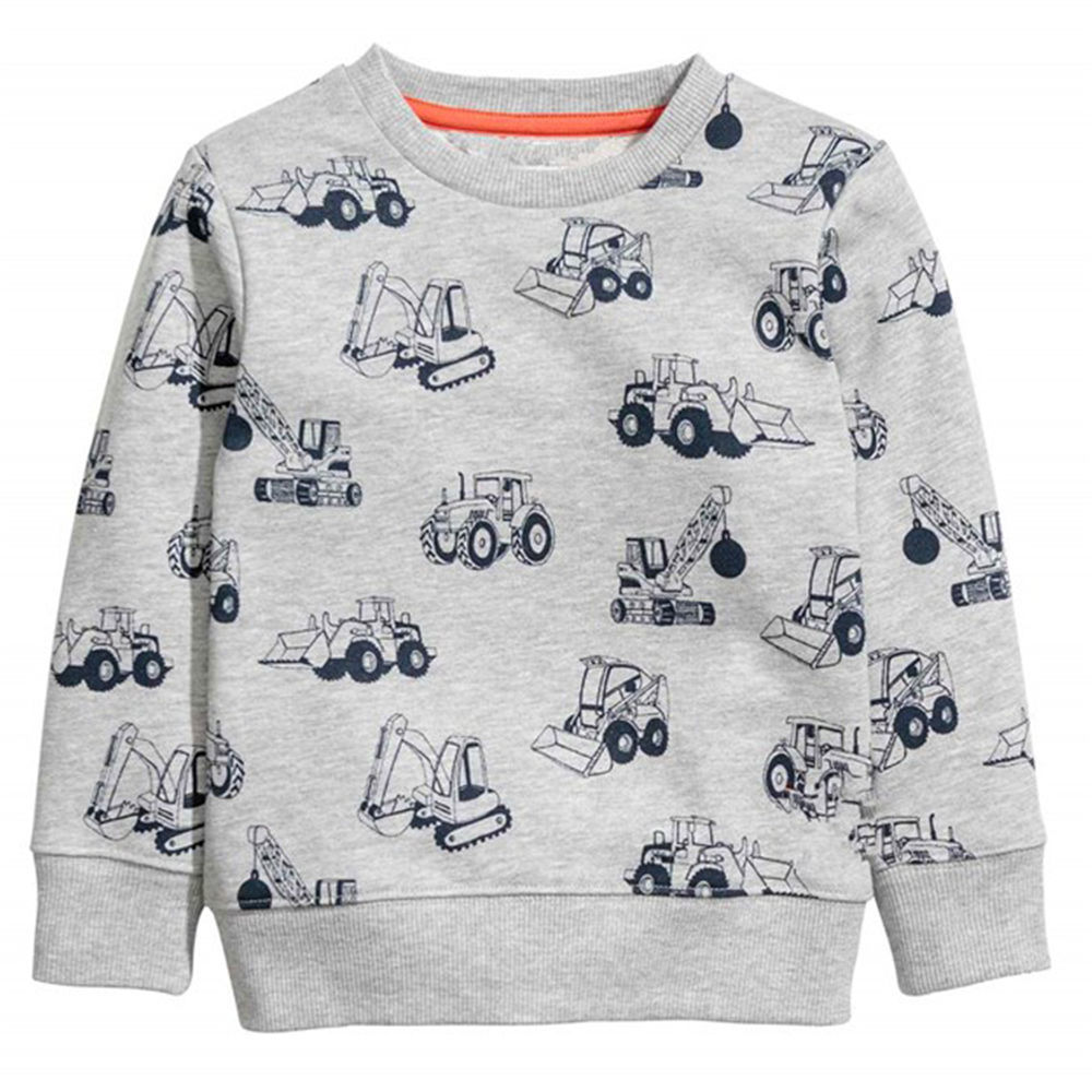 Littlemandy Excavators Baby Girls Boys Sweater shirt Kids Long Sleeve Cotton 2018 Brand Winter Clothes Girls Clothing
