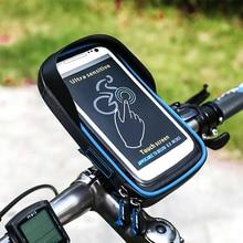 Suporte de celular para bicicleta, capa de 6 polegadas para guidão e motos à prova dágua para iphone, samsung, huawei, xiaomi