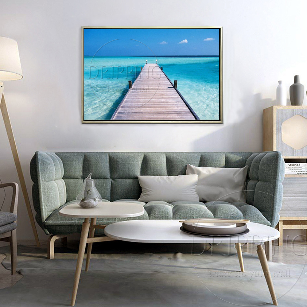 Pure Hand painted High Quality Modern Seascape Blue Ocean Oil Painting for Living Room Large Canvas Landscape Oil Painting in Painting Calligraphy from Home Garden