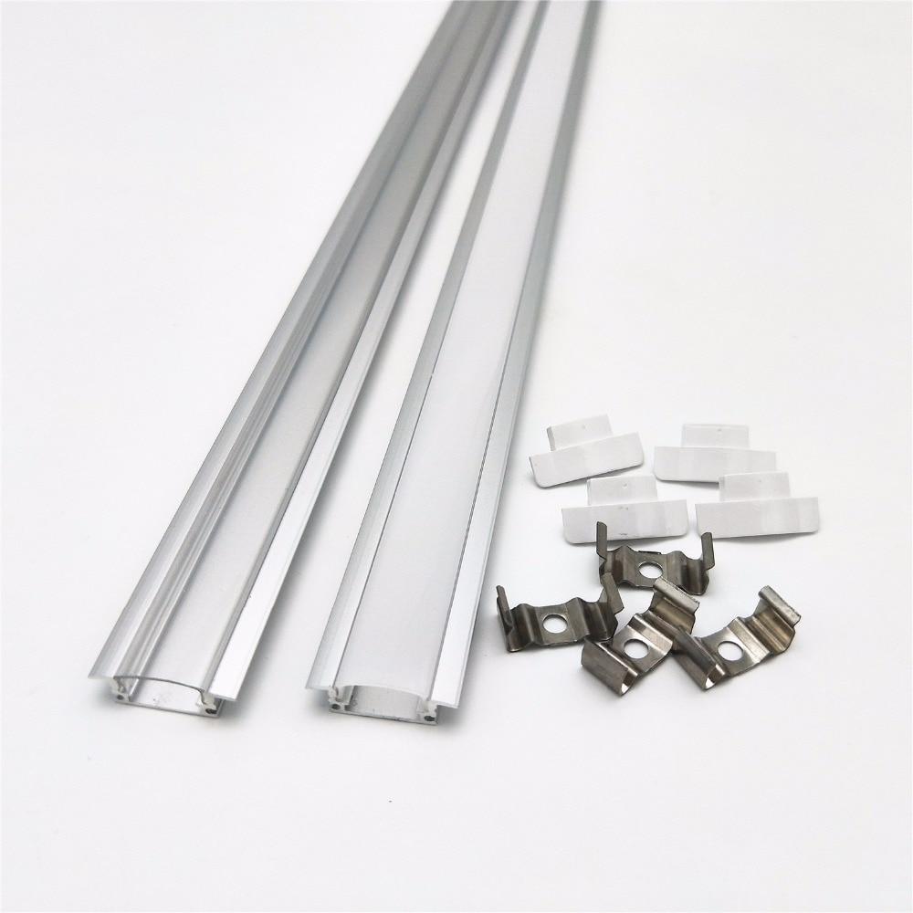 2-20 stücke/lot 0,5 m/teil led slot, embedded aluminium profil für 5050 5630 led streifen, milchig/transparent abdeckung für 12mm pcb