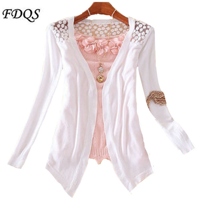 Women Candy Color Slim Thin Lace Hollow Out jacket Women Knitted Cardigan Sweater Tops Irregular Hem Long Sleeve  Outwear Coat