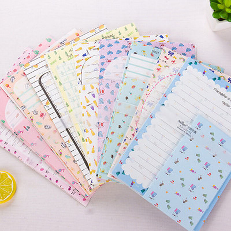 2 Set Kawaii Big Size Writing Letters 6pc+3pc Envelops 9pcs Cartoon Fruit School Office Students Paper Envelope Letters Pad Sets