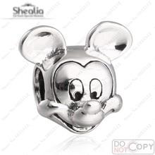 Vintage de plata Mickey Charm cabida los granos Shealia pulseras auténtica plata de ley 925 de la historieta del encanto de primavera Diy joyería que hace
