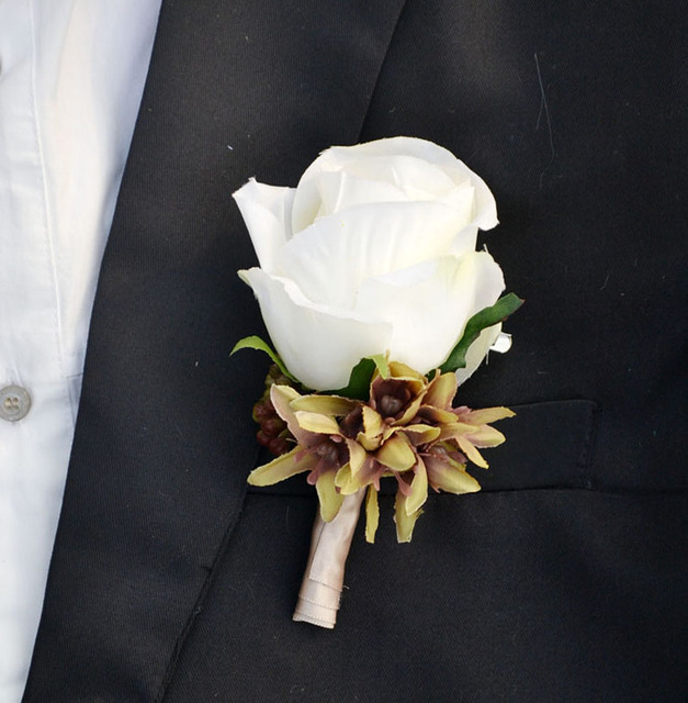 Wedding Flowers Corsage Ideas: Handmade Corsages Groom Boutonniere Artificial Flower