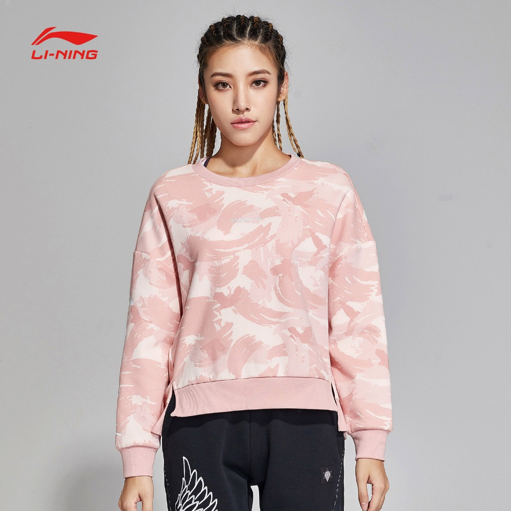 Trainings- & Übungs-sweater Li-ning Frauen Die Trend Pullover Warme Fleece Lose Fit 66% Polyester 34% Baumwolle Futter Sport Tops Sweatshirts Awdn808
