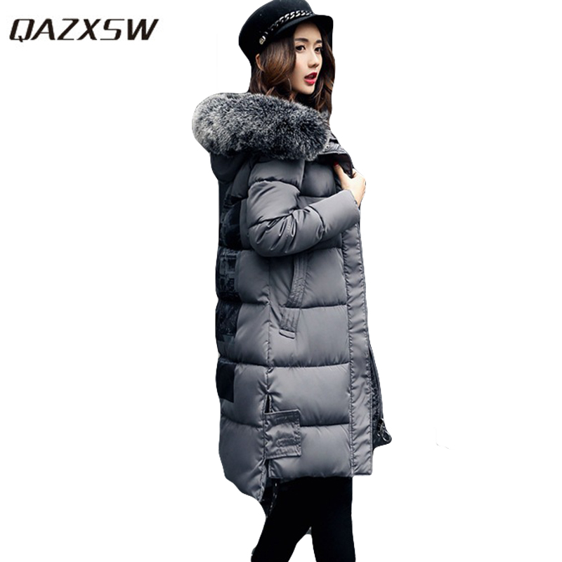 цены  QAZXSW 2017 New Winter Long Cotton Coat Women Padded Jacket Hooded Fur Collar Thick Parkas For Girl Print Warm Outwear HB176