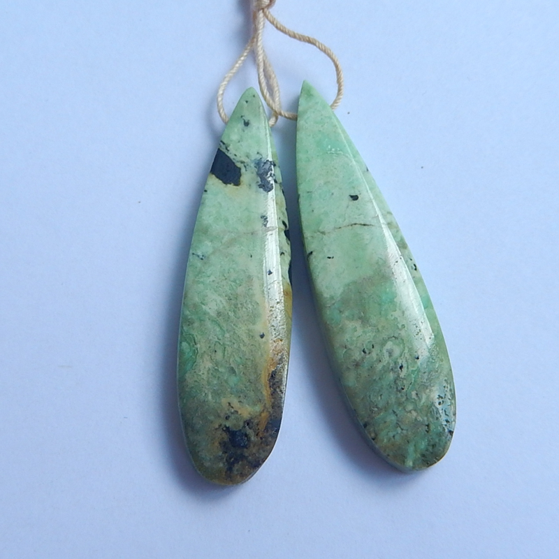 Natural Stone Water Drop Shape Green Turquoise Earring Beads 43x11x6mm 7.0g beauty jewelry for women earrings gift accessory