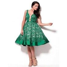 2016 Sexy A-Line Cocktailkleider Lace & Satin V-ausschnitt Ärmellose knielangen Homecoming Party Abendkleid Vestidos De Coctel