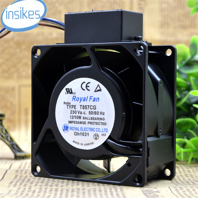 DHL Free TYPE T857CG AC 230V 12W 8038 8cm 80*80*38mm 3 Wires 50/60HZ High Temperature Cooling Fan free delivery ac230v 8 cm high quality axial flow fan cooling fan 8038 3 c 230 hb