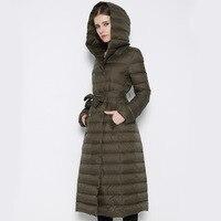 Extra long imbottiture giacca femminile 2016 european brand più il formato sottile fit parka cappotto caldo d'inverno sottile cappotti sportivi xxxl cappotto delle ragazze