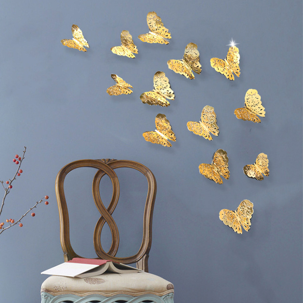 12pcs PVC 3d Butterfly wall decor cute Butterflies wall stickers for girls rooms art Decals home Decoration room wall art 6(China)