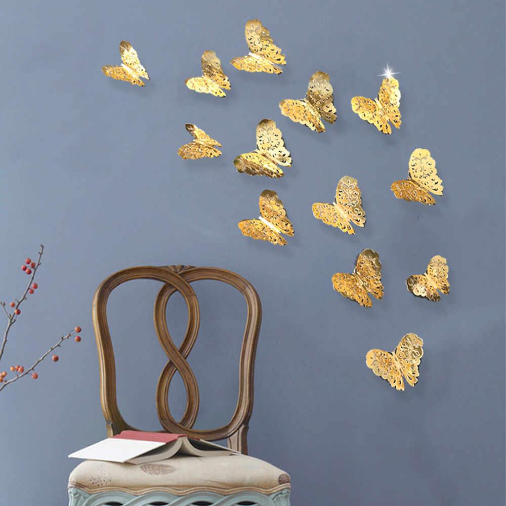 12 шт. ПВХ 3d бабочка Настенный декор милые бабочки настенные наклейки для девочек комнаты книги по искусству переводки украшение для дома комнаты стены книги по искусству 6