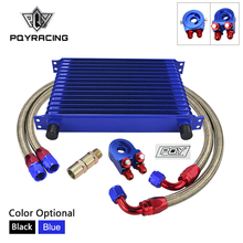 Oil-Cooler-Kit Sandwich-Adapter UNIVERSAL WITH Pqy-Sticker BOX 15-Rows BRAIDED BRAIDED
