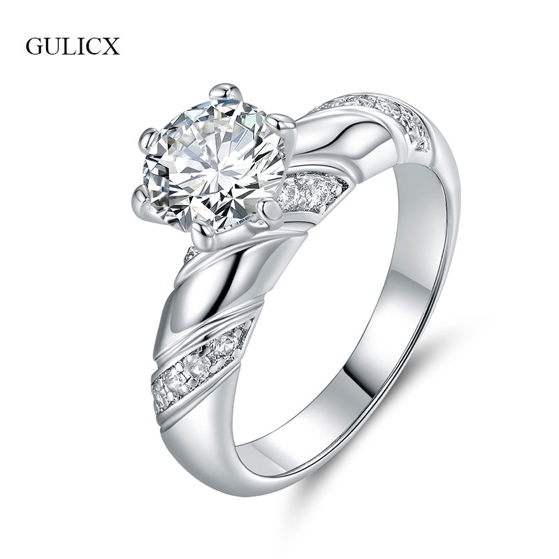 GULICX New Brand Wedding Rings For Women Female Ladies Silver-Color Finger Engagement Ring Crystal Cubic Zirconia Jewelry GLR225