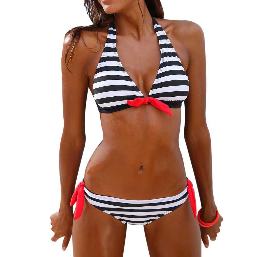 Women's Swimming Suit Sexy Bikini Swimsuit Women Bikini Set Striped Swimsuit Swimwear Beachwear Bathing Suit