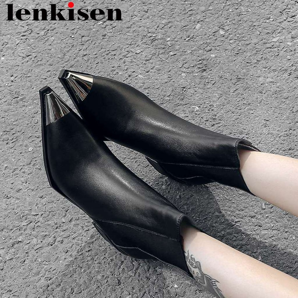 2018 rome slender natural leather slip on classic chelsea boots square toe low heels mixed colors movie stars mid-calf boots L58