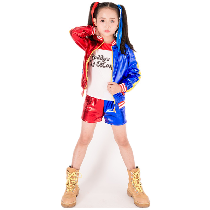 Movie Suicide Squad Harley Quinn Cosplay Costume wig for Kids adult Girls Halloween Carnival Dress Harley Quinn Jacket T shirt