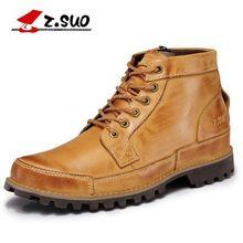 dc34f43e Z. suo moda invierno botas de cuero genuino Lace-Up transpirable/cómodo  estilo británico de los hombres casuales Martin botas