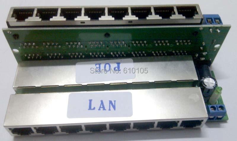 2 шт./лот 8 Way POE Инжектор Power Over Ethernet LAN DC Male 5,5x2,1 мм адаптер