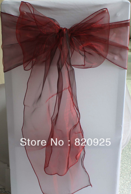 Chair Cover Bows aliexpress : buy 50 x burgundy organza sashes sheer chair