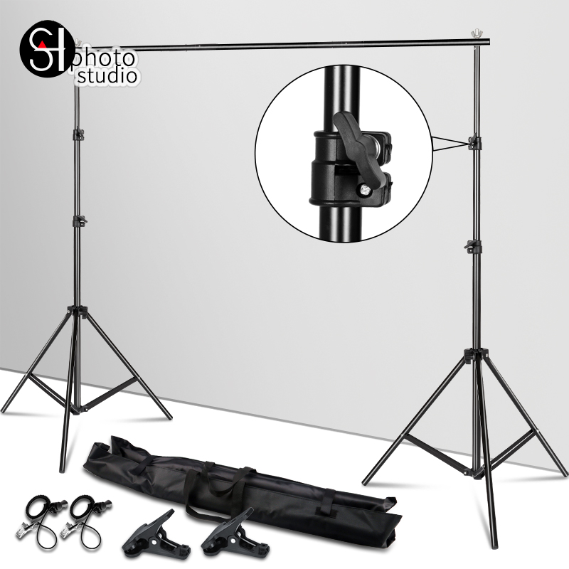 Support de fond Support système arrière-plan réglable cadre Pro vert écran toile de fond Crossbar Photo Studio Kit + Clip de sac de transport