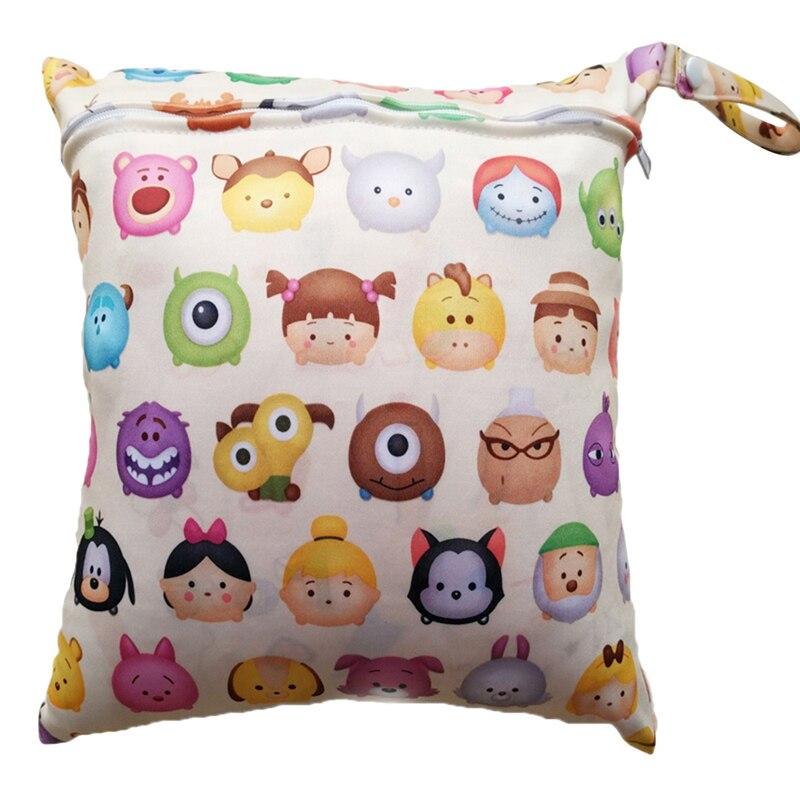 Cute Waterproof Wet Cloth Diaper Backpack Reusable Diaper Cover Baby Diaper Bags Printed Double Zippered Wet/Dry Bag