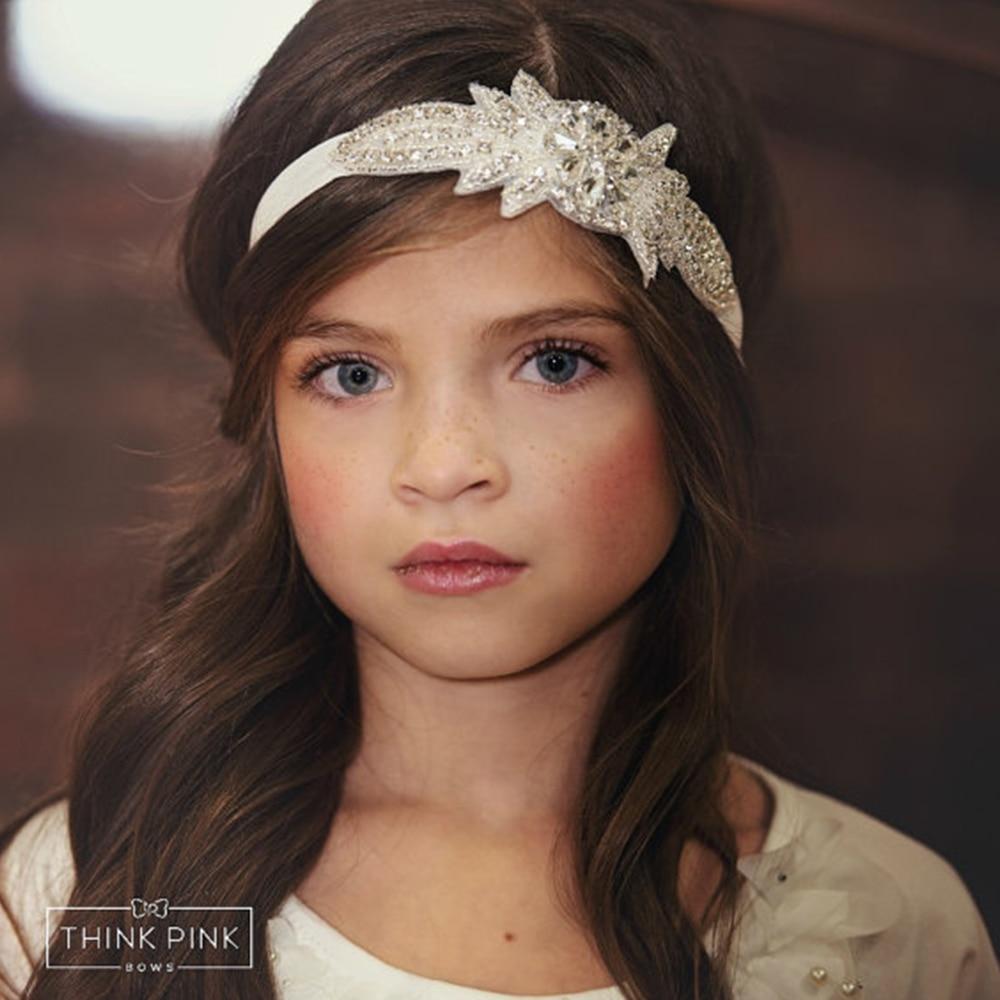 New Flower Girl Rhinestone Headband for Hair Accessories kids Christening Baptism Headband girl Bling Headband 1pc 1piece hair accessories for girl
