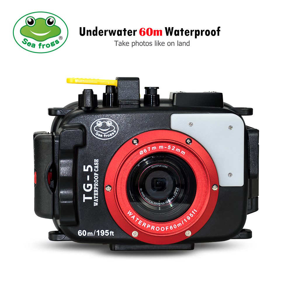 Seafrogs For Olympus TG-5 Case 60m/195ft TG5 Underwater Diving Camera Housing Waterproof Case with Dual Fiber-Optic ports