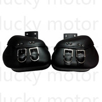 Motorcycle Universal PU Leather Saddle Bags Motorbike Panniers Luggage Bag Black