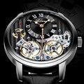 2 Tourbillon Drehen Uhr Männer Automatische Mechanische Uhren Schwarz Stahl fall Skeleton Mann Uhr Herren Uhr Top Marke Luxus