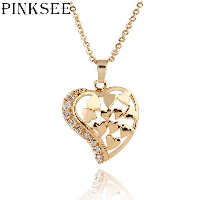 PINKSEE Gold Color Zircon Circle Crystal Heart Love Pendent Chain Necklace  For Women Girls Valentine s Day Jewelry Gifts fb126d95604e