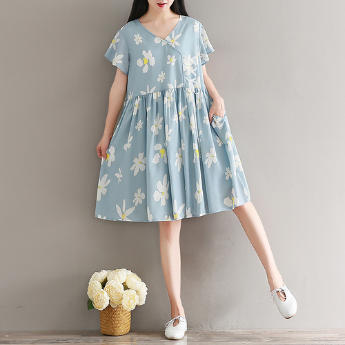 2018 New Fashion Prairie Style Summer Women Dress Temperament V Neck Short Sleeve High Waist Loose Printing Chiffon Dresses In From S Clothing