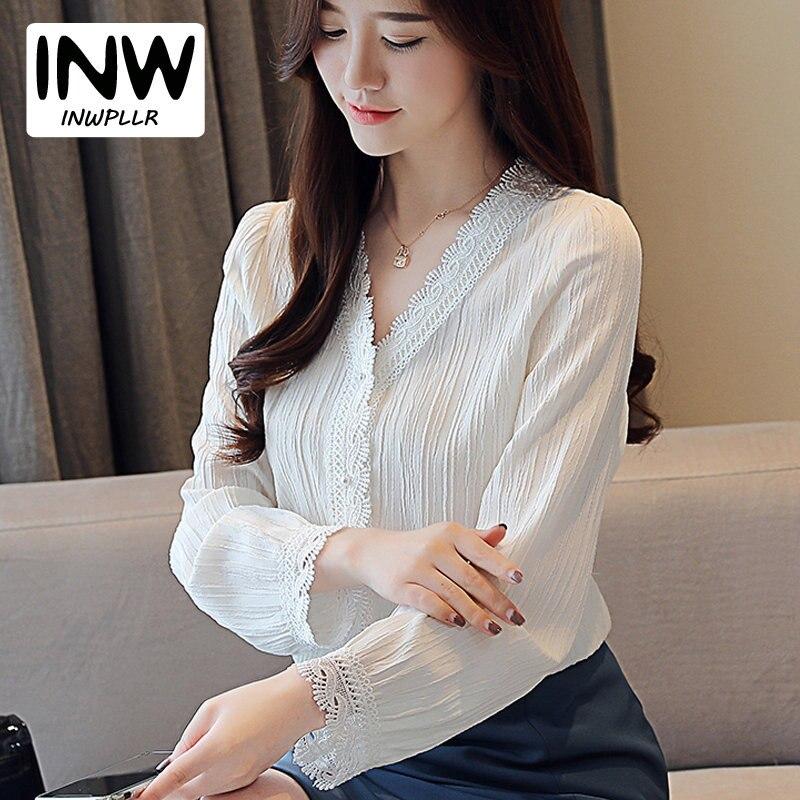2019 nueva moda Otoño Camisas Blusas de encaje blanco