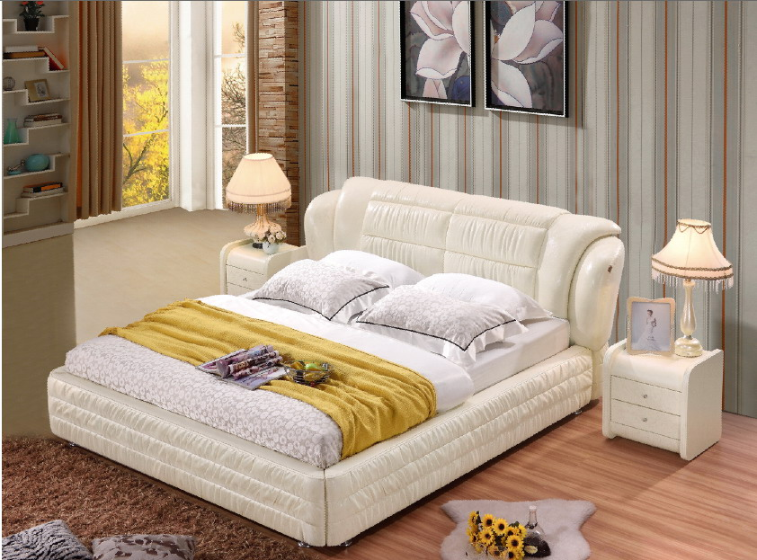 modern real genuine leather bed / soft bed/double bed king/queen size bedroom home furniture ivory color+ 2 night stands designer modern real genuine leather bed soft bed double bed king queen size bedroom home furniture american style