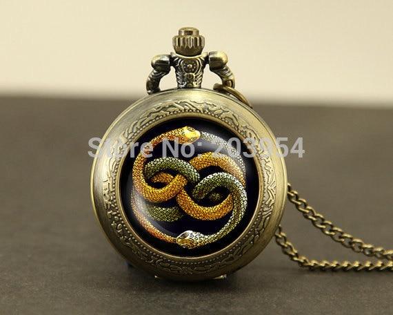 Never Ending Story two snake Pocket Watch1pcs neverending bastian atreyu gmork falkor fantasia vintage Pendant locket necklace