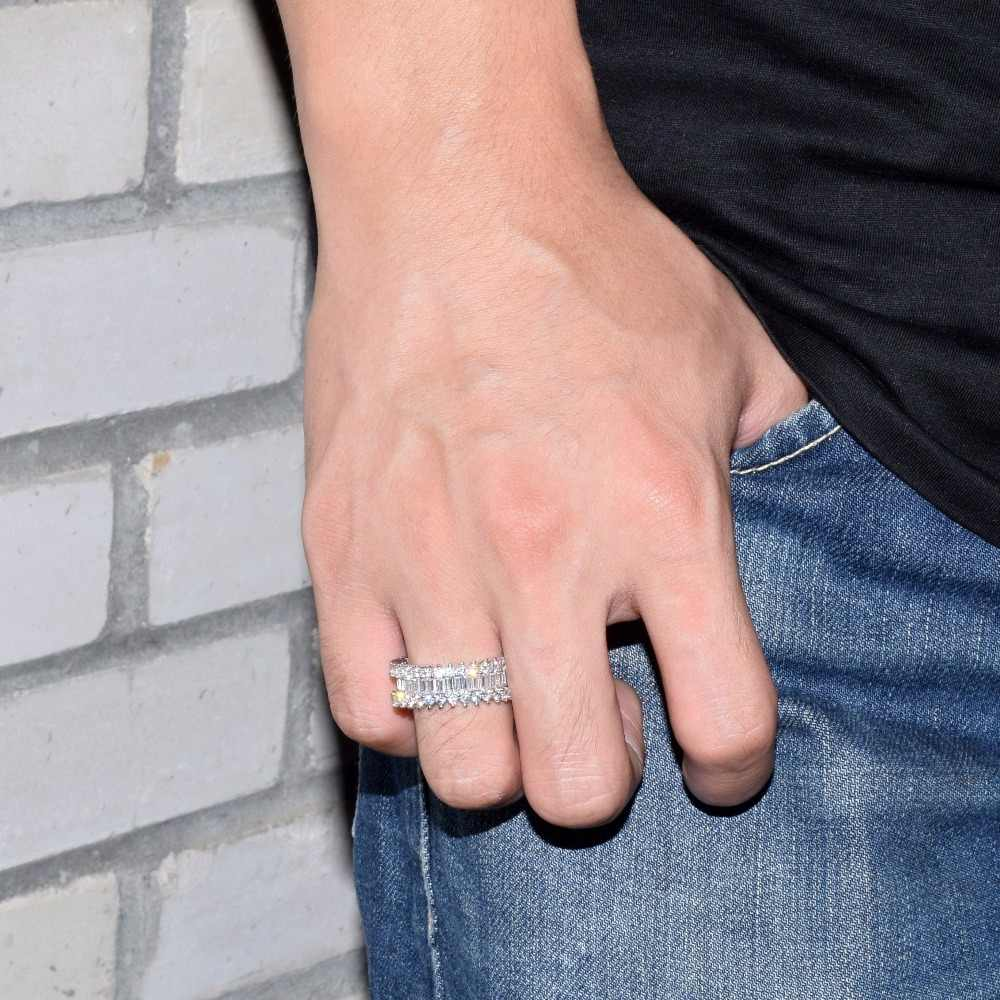 Blue Zircon แหวนผู้ชายวัสดุทองแดง Charm เงิน AAA Cubic Zircon เย็นแหวนแฟชั่นเครื่องประดับ Hip Hop