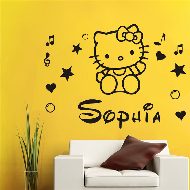 Poomoo wall sticker hello kitty fairy personalised name wall sticker art decal vinyl kids girl